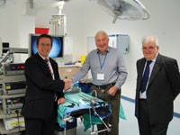 30 September 2016. Presentation by Swindon IA of Trans Anal Endoscopic Operating equipment to the Great Western Hospital, Swindon.  From left: Colorectal & General Surgeon - Mr Alexander; Swindon IA Chairman - Frank Williams, and Swindon IA Secretary - Martin Brien.